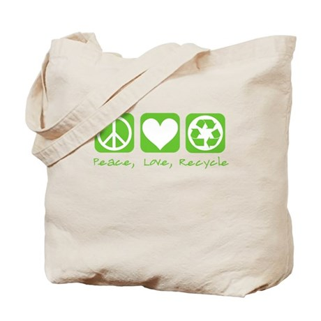 Peace, Love, Recycle Tote Bag