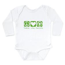 Peace, Love, Recycle Long Sleeve Infant Bodysuit