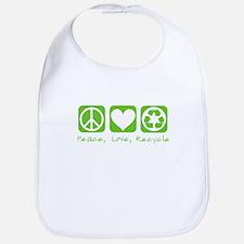 Peace, Love, Recycle Bib