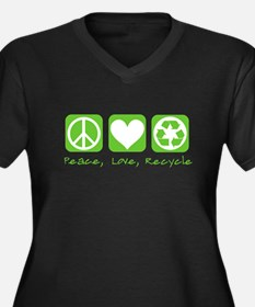 Peace, Love, Recycle Women's Plus Size V-Neck Dark