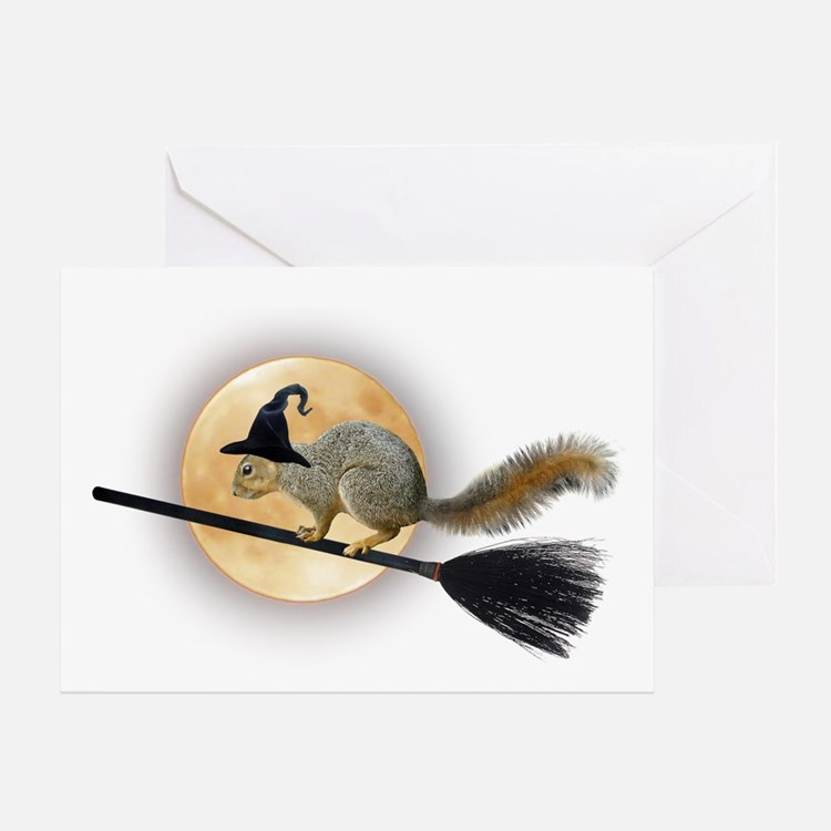 Witch Squirrel Greeting Card