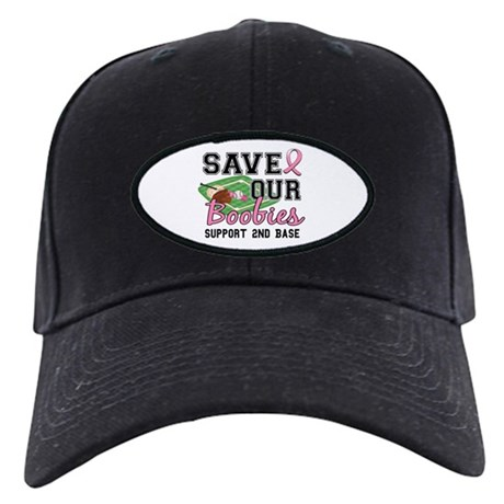 Second 2nd Base Breast Cancer Black Cap