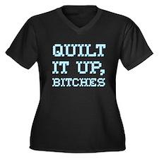 Quilt It Up, Bitches Women's Plus Size V-Neck Dark