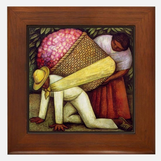 Diego Rivera Flower Picker Art Framed Tile