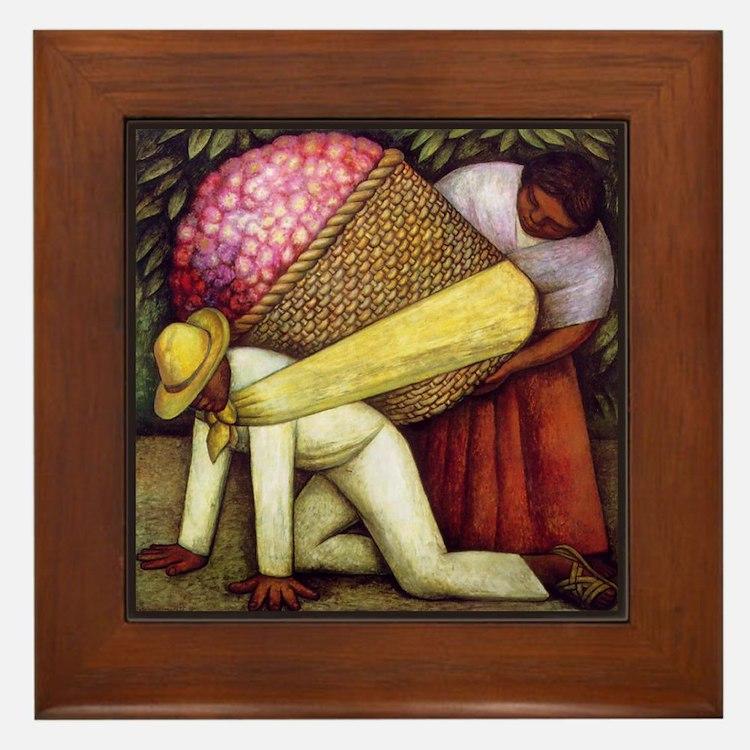 Diego Rivera Flower Picker Art Framed Tile