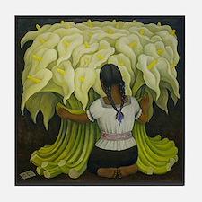 Cala Lilies Flower Girl Art Tile Coaster