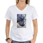Hippo Profile Women's V-Neck T-Shirt