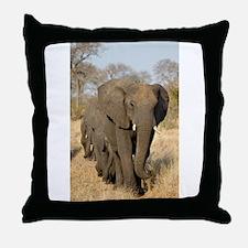 Elephants Stroll Throw Pillow