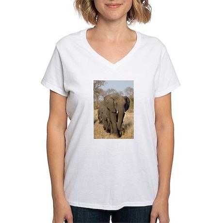 Elephants Stroll Women's V-Neck T-Shirt