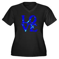 LOVE SPARKLE BLUE Women's Plus Size V-Neck Dark T-