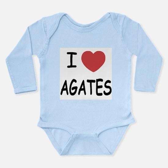 I heart agates Long Sleeve Infant Bodysuit
