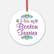 Love Boston Terrier Ornament (Round)