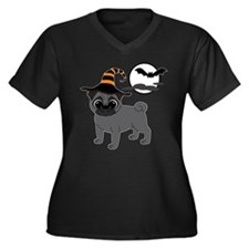 Bewitched Black Pug Women's Plus Size V-Neck Dark