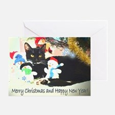 Cat with Snowmen Greeting Card