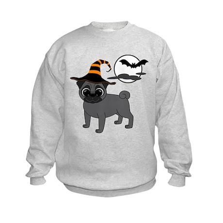 Bewitched Black Pug Kids Sweatshirt