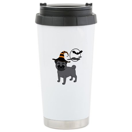 Bewitched Black Pug Stainless Steel Travel Mug