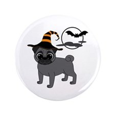 "Bewitched Black Pug 3.5"" Button (100 pack)"