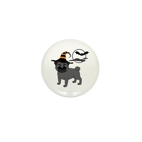 Bewitched Black Pug Mini Button