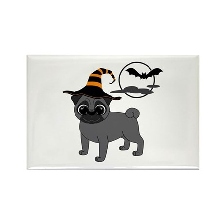 Bewitched Black Pug Rectangle Magnet (10 pack)