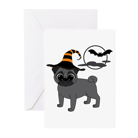 Bewitched Black Pug Greeting Cards (Pk of 10)