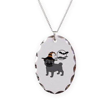 Bewitched Black Pug Necklace Oval Charm