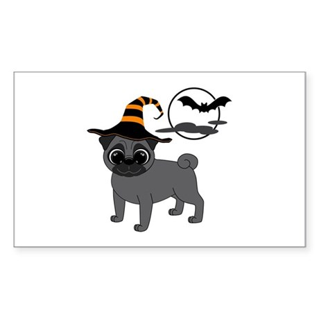 Bewitched Black Pug Sticker (Rectangle)