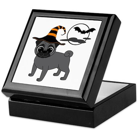 Bewitched Black Pug Keepsake Box
