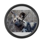 African Wild Dog Large Wall Clock