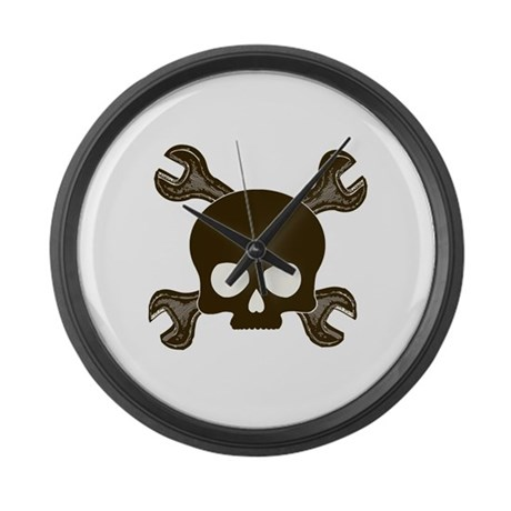 Skull & Cross-Wrenches Large Wall Clock