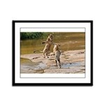 Lions Playing in Water Framed Panel Print