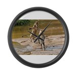 Lions Playing in Water Large Wall Clock