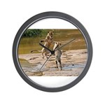 Lions Playing in Water Wall Clock