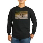 Lions Playing in Water Long Sleeve Dark T-Shirt