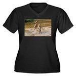 Lions Playing in Water Women's Plus Size V-Neck Da
