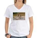 Lions Playing in Water Women's V-Neck T-Shirt