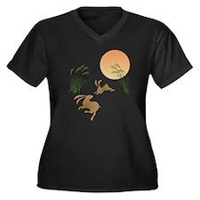 Moon, japane Women's Plus Size V-Neck Dark T-Shirt