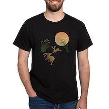 Moon, japanese pampas grass and rabbi T-Shirt
