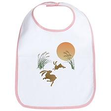 Moon, japanese pampas grass and rabbits Bib