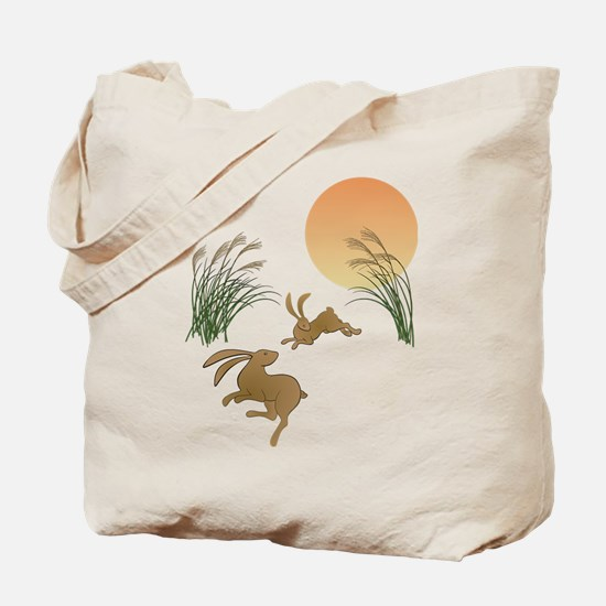 Moon, japanese pampas grass and rabbits Tote Bag