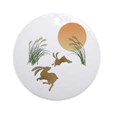 Moon, japanese pampas grass and r Ornament (Round)