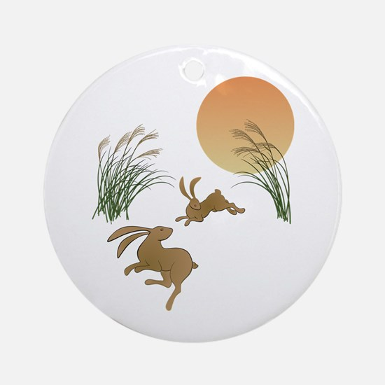 Moon, japanese pampas grass and rab Round Ornament
