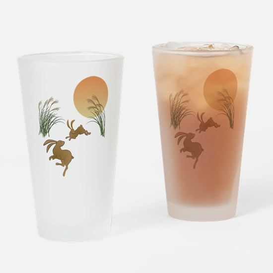 Moon, japanese pampas grass and rab Drinking Glass