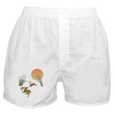 Moon, japanese pampas grass and rabbi Boxer Shorts