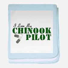 I Love My Chinook Pilot baby blanket