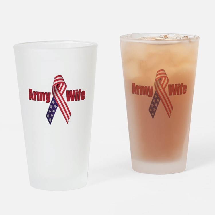 Army Wife (RWB Ribbon) Drinking Glass