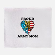 Army Mom Patriotic Heart Throw Blanket
