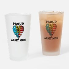 Army Mom Patriotic Heart Drinking Glass