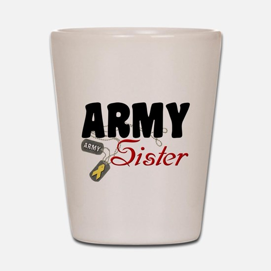 Army Sister Dog Tags Shot Glass