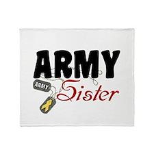 Army Sister Dog Tags Throw Blanket