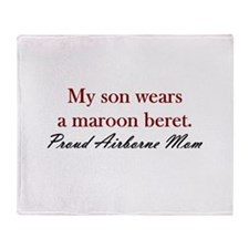 Son/Mom Maroon Beret Throw Blanket